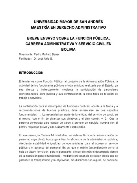 BREVE ENSAYO SOBRE LA FUNCIÓN PÚBLICA, CARRERA