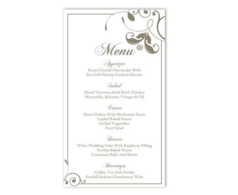 dinner menu card template wedding menu template diy menu card template editable text
