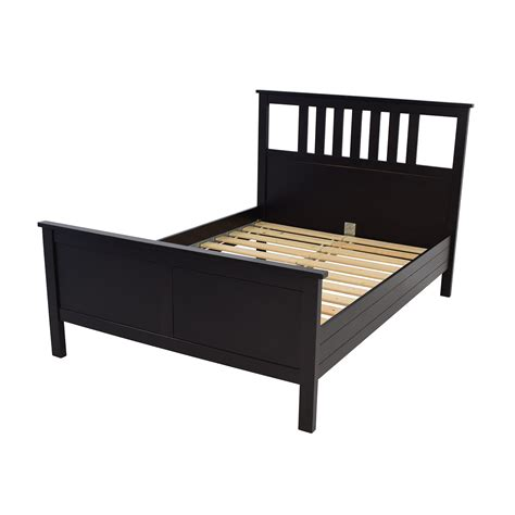 53 Off Ikea Ikea Dark Brown Wood Queen Bed Frame Beds Furniture Bed Frame