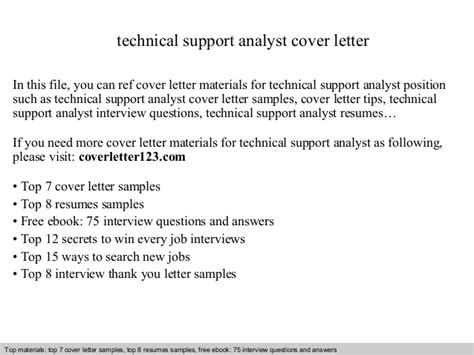 Cover Letter Application Support Analyst Technical Support Analyst Cover Letter