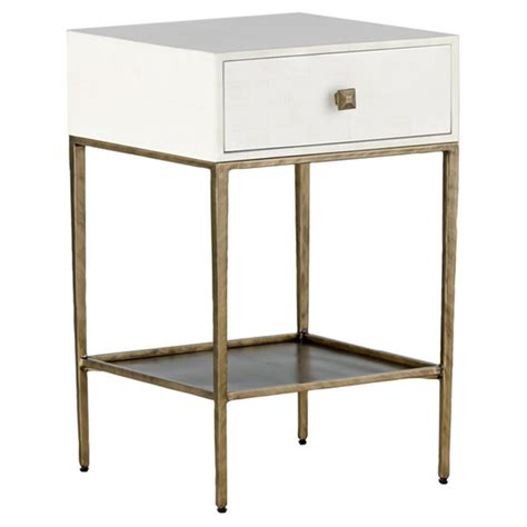 Bedside Tables Nightstands by Nyla Modern Faux Bone Brushed Brass Nightstand Kathy Kuo