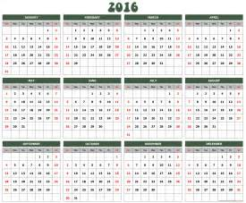 2016 Calendar Template by 2016 Yearly Birthday Calendar Printable Calendar