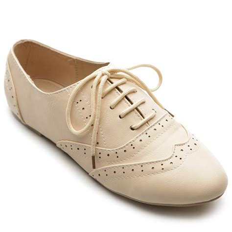 ollio womens classic dress oxfords low flats heels lace up multi colored shoes