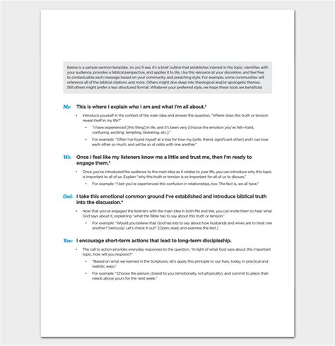 sermon outline template   word   format