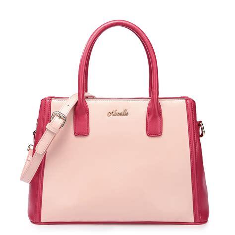 Bag For Pink color blocking cowhide handbag pink