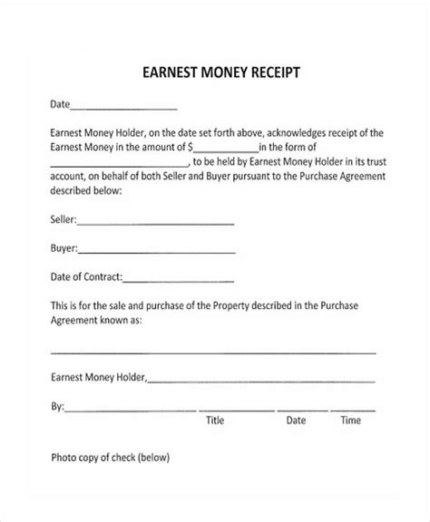 Earnest Money Receipt Template by Earnest Money Deposit Agreement Template 28 Images 28