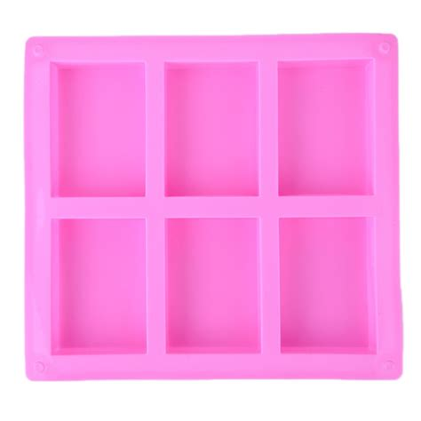 Cetakan Silicone Mold 6 6 cavities handmade rectangle square silicone soap mold chocolate cookies mould cake decorating