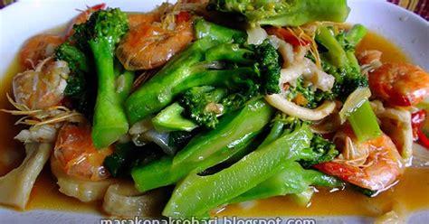resep tumis brokoli jamur tiram spesial udang