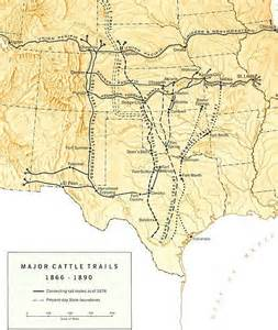 cattle trails map cattle drives encyclopedia article citizendium
