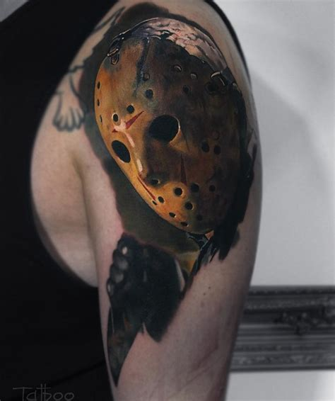 jason mask tattoo jason voorhees mens arm best design ideas