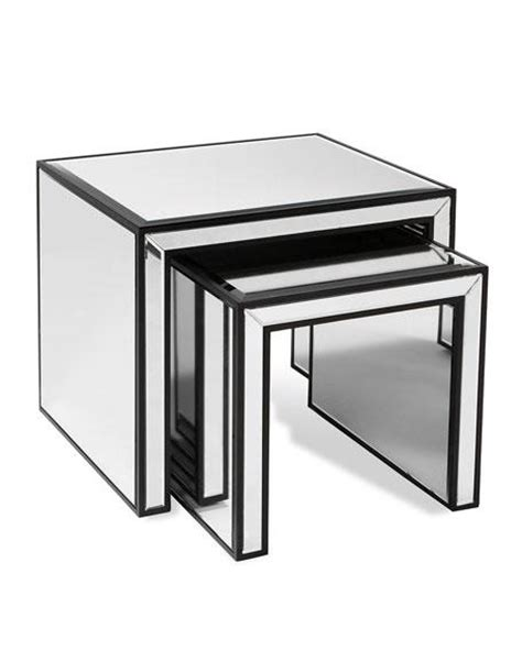 mirrored nest of tables vintage inspired mirrored nesting tables