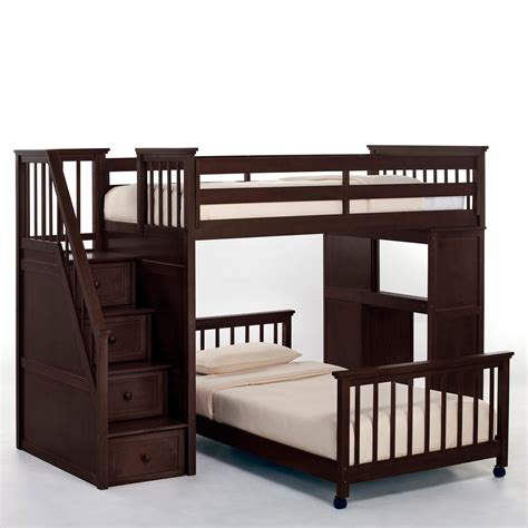 loft bunk beds with stairs schoolhouse stairway loft bed chocolate bunk beds