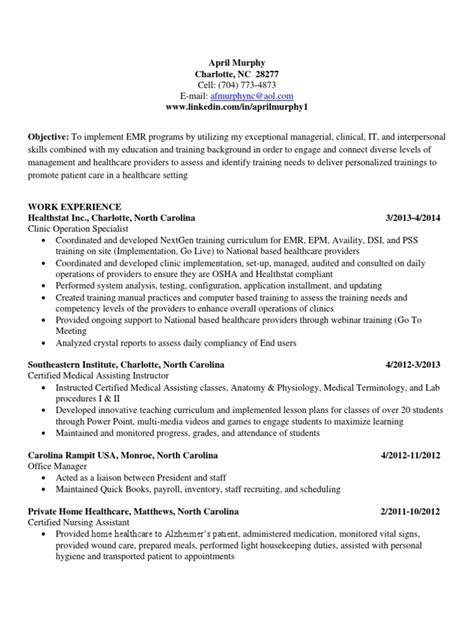 Emr Trainer Sle Resume by Emr Trainer Resume Cover Letter Sles For Part Time Resume Ehr Trainer Resume Cv
