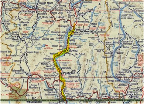 printable bc road map road trip time machine bc highway 97 u s border to
