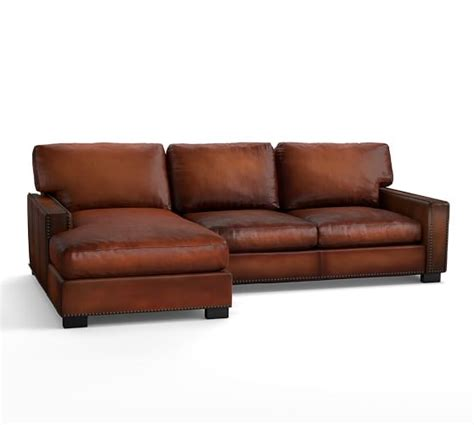Sectional Leather Sofa With Chaise Turner Square Arm Leather Sofa With Chaise Sectional With Nailheads Pottery Barn
