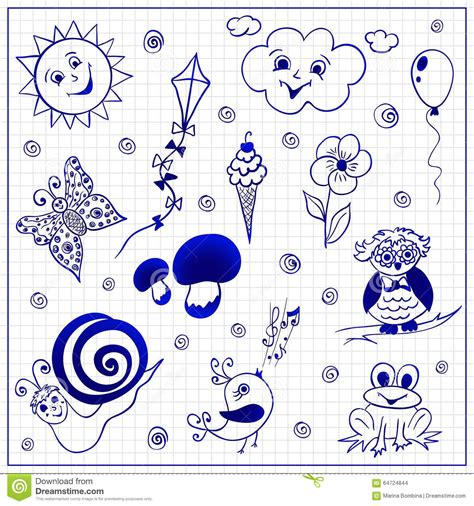 doodle for sign up sheet childish doodles on paper sheet stock vector image 64724844