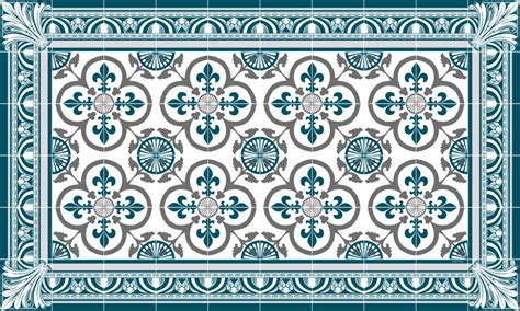 Tapis Carreaux De Ciment Vinyl 5869 by Tapis Vinyle Carreaux De Ciment Garance Bleu Canard