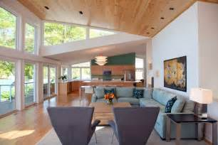 Mid Century Modern Outdoor Fireplace - modern butterfly roof living room contemporary with wood panel ceiling recessed lighting