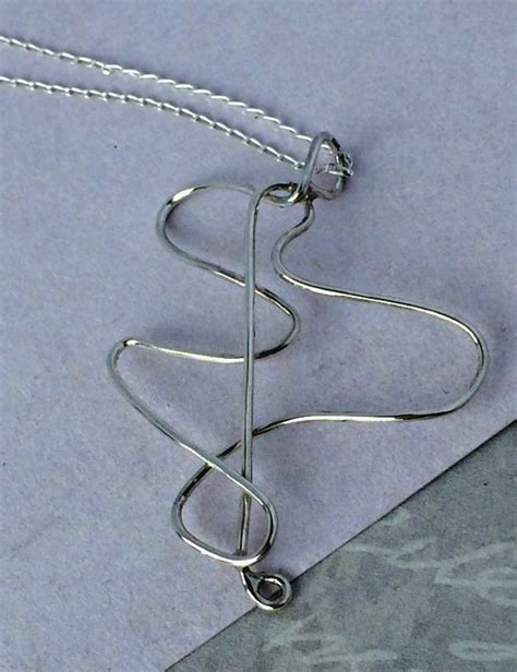 Simply Stunning Is Wired by Handmade Silver Necklace Needle Thread Shaped Necklace