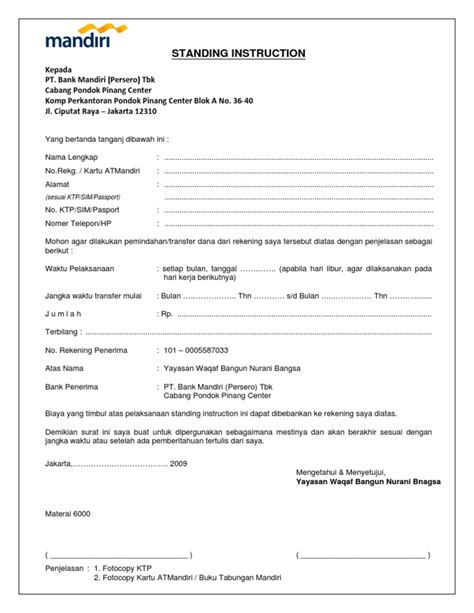 Contoh Surat Perintah Pt Duta Mandiri by Surat Kuasa Autodebet Mandiri