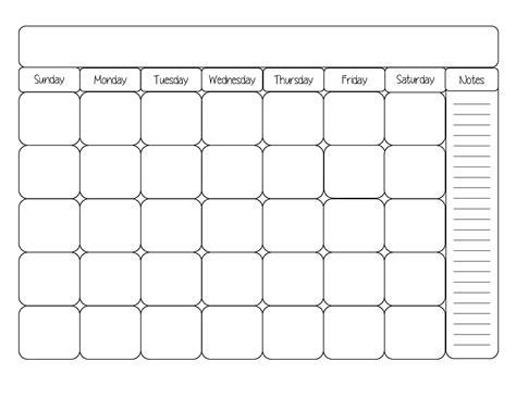 blank calendar template cute printable editable blank