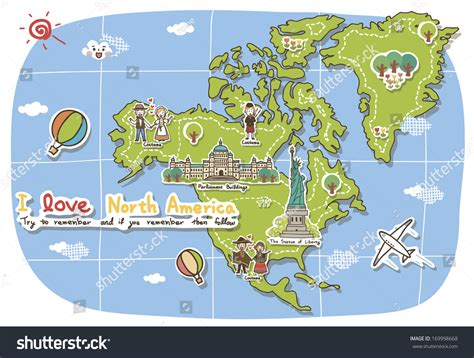 usa map with landmarks landmarks decorate map america stock illustration