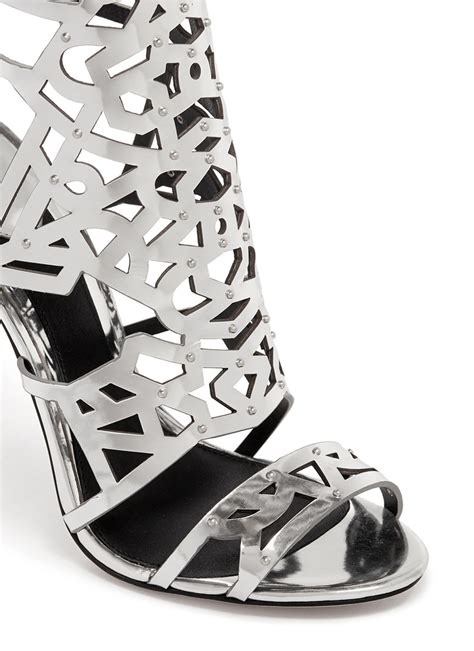 Shoe Designer Spotlight Brian Atwood by B By Brian Atwood Laconica Metallic Open Toe Caged