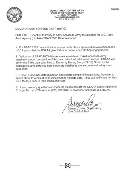 army policy letter template dept of the army auditing docs memo quot exception to policy