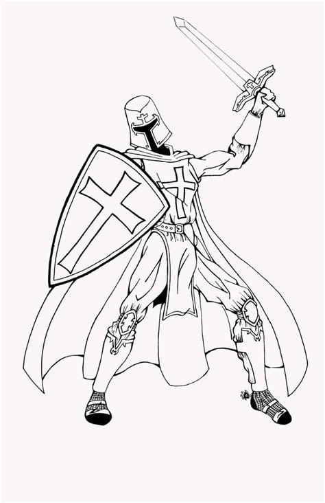 coloring pages of fighting knights templar knight 01 uncolored by gspidey29 on deviantart