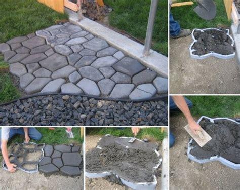 diy concrete backyard how to diy concrete cobble stone garden path