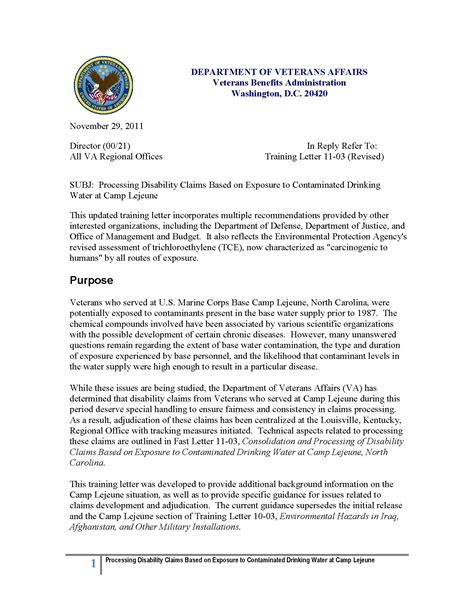 Cover Letter For Va Veterans Affairs Letter Exposure To Contaminated Water At C Lejune The