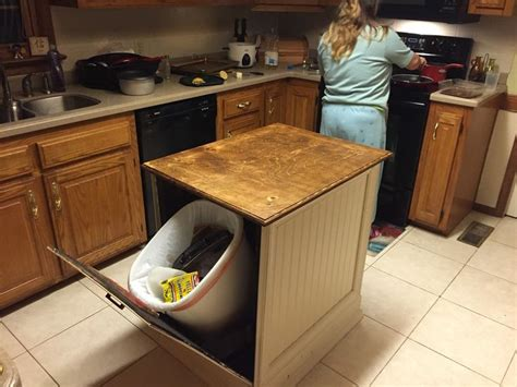 Kitchen Garbage Cans Built In Kitchen Island With Built In Trash Cans My Own Pics