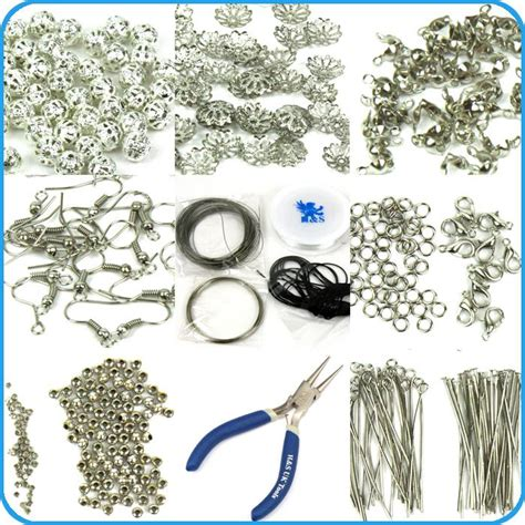 Findings SET Large Jewellery Making KIT Pliers Silver Beads Wire Starter Tool   eBay