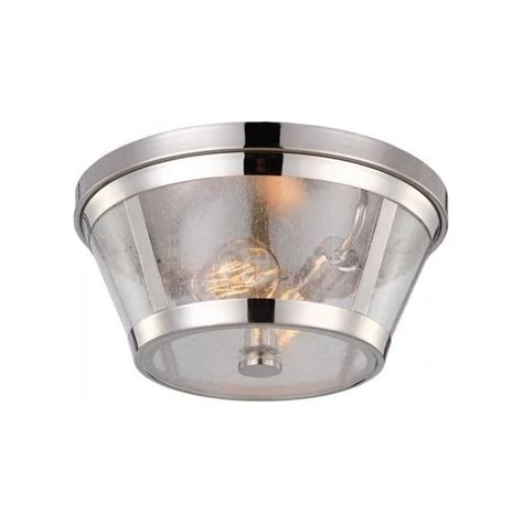 nickel flush mounted low ceiling light with circular