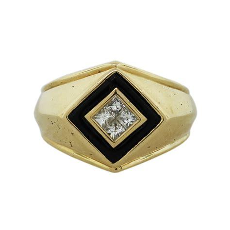 14k yellow gold princess cut and onyx inlay ring