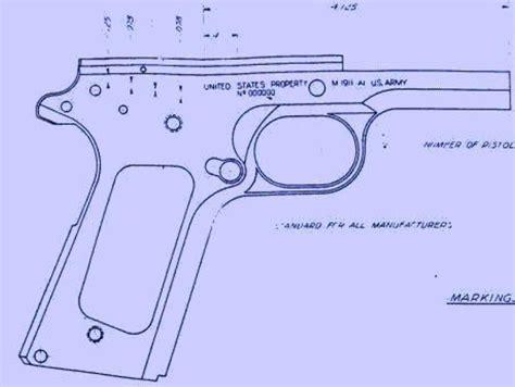blue print size colt m1911a1 pistol blueprints by jballard thingiverse