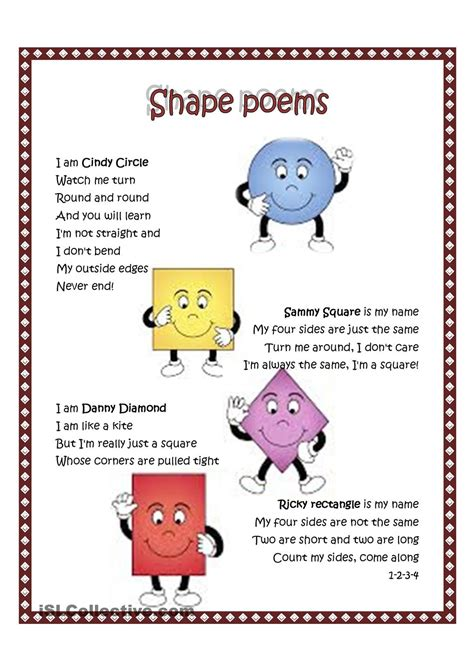 kindergarten poems best photos of shape poems for preschoolers preschool