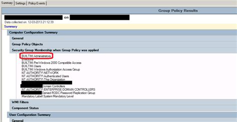 windows server  group policy result summary  dc