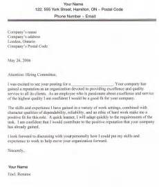 Employment Cover Letter Exle by Search In Usa And Canada