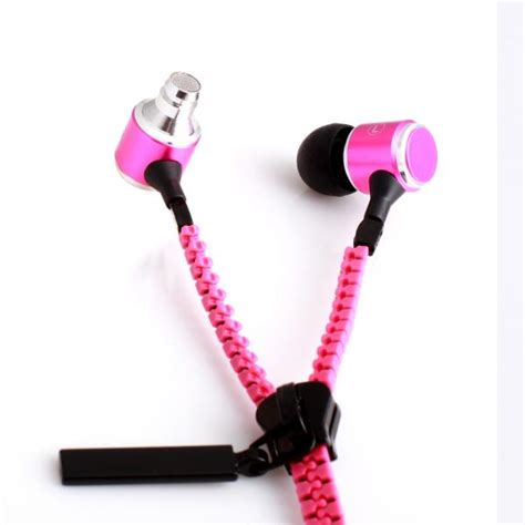 Earphone Zip geeq pink zip style noise isolating earphone with microphone