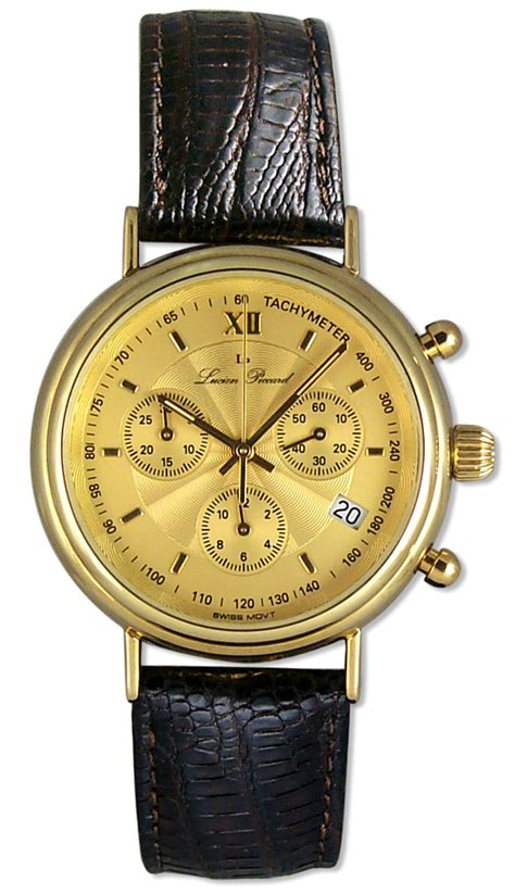 lucien piccard 14kt gold chronograph mens date