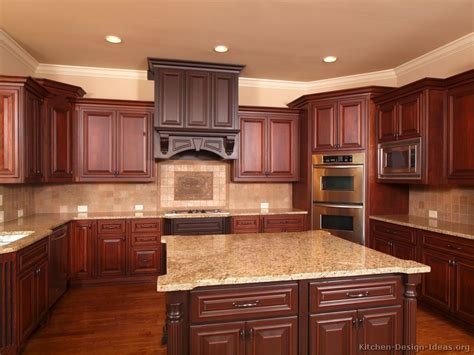 Kitchen Ideas With Cherry Wood Cabinets Pictures Of Kitchens Traditional Two Tone Kitchen Cabinets Kitchen 154