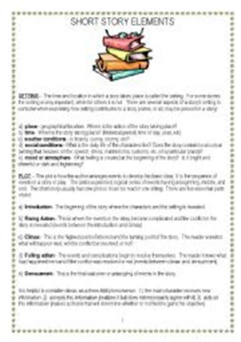 printable quiz on story elements english worksheet short story elements