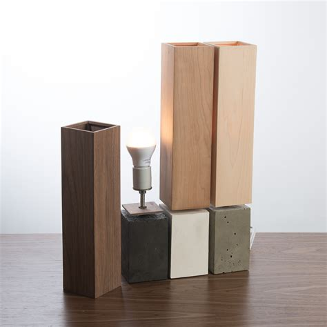 Kitchen Collection Store Hours petite table lamp concrete base with wood veneer shade