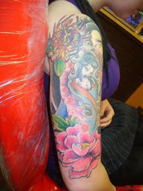 geisha flowers tattoo 60 brilliant geisha tattoos on shoulder