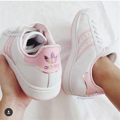 shoes light pink stripes adidas superstars wheretoget