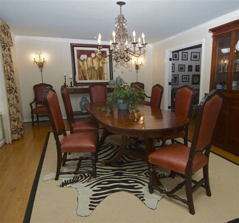 Cowhide Rug Dining Room dining room with cowhide rug