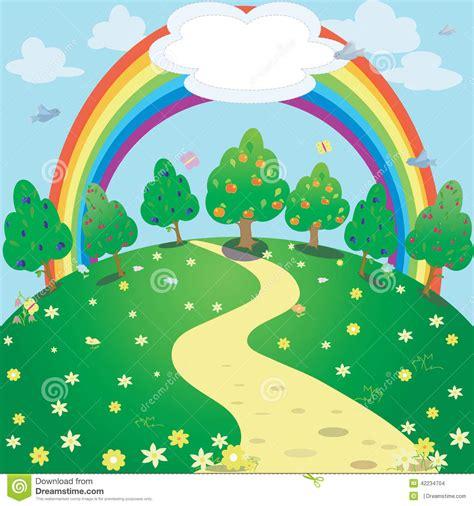 Clipart Arcobaleno - illustrazione dell arcobaleno sopra il prato illustrazione
