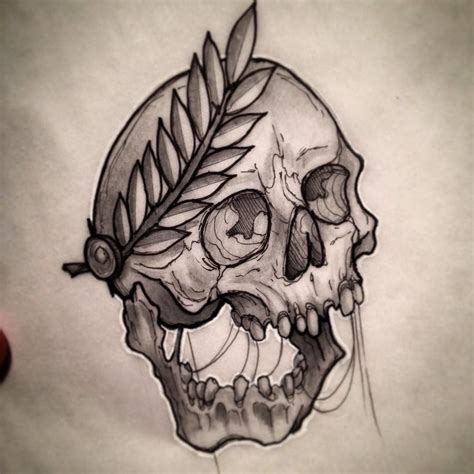 traditional skull tattoo skull drawing flash neotraditional