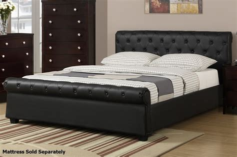 queen bed length poundex f9246q black queen size leather bed steal a sofa